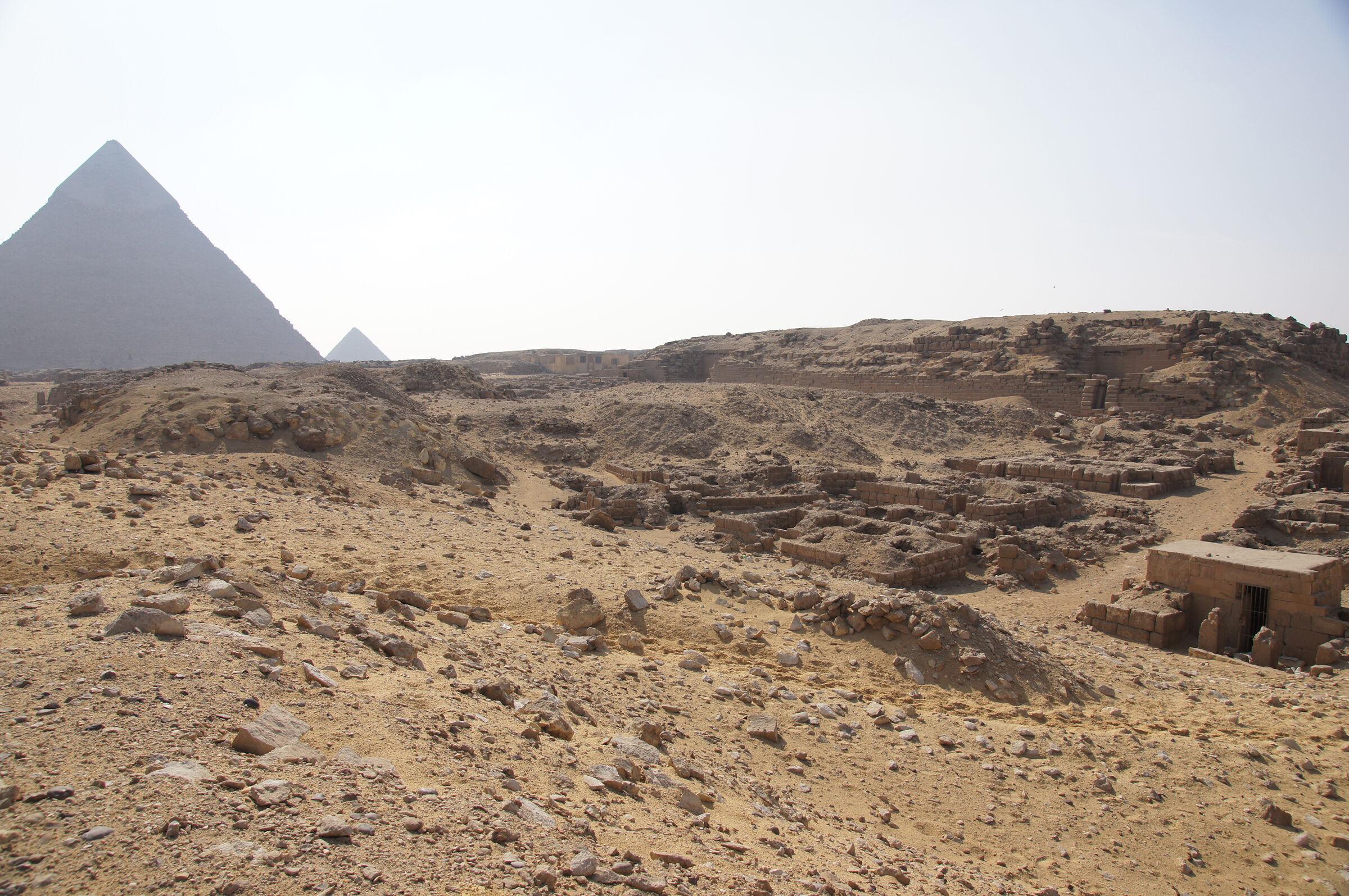 Western Cemetery: Site: Giza; View:  G 2240, G 2246, G 2243, G 2244, G 2239, G 2242, G 2241, G 2238, G 2233, G 2237, G 2232, G 2236, G 2235, G 2234, G 2061, G 2071, G 2072, Khafre Pyramid, Menkaure Pyramid