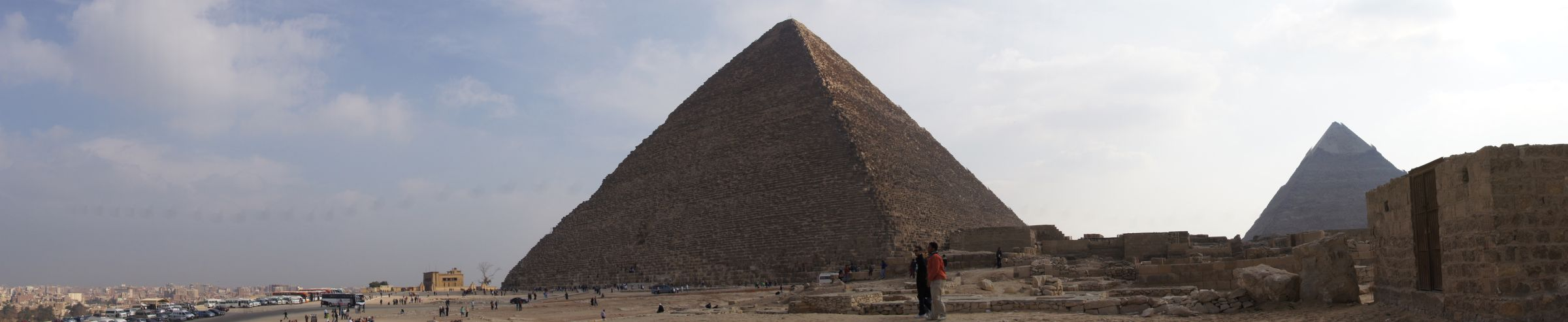 General view: Site: Giza; View: Cemetery en Echelon, Khafre Pyramid, Khufu Pyramid