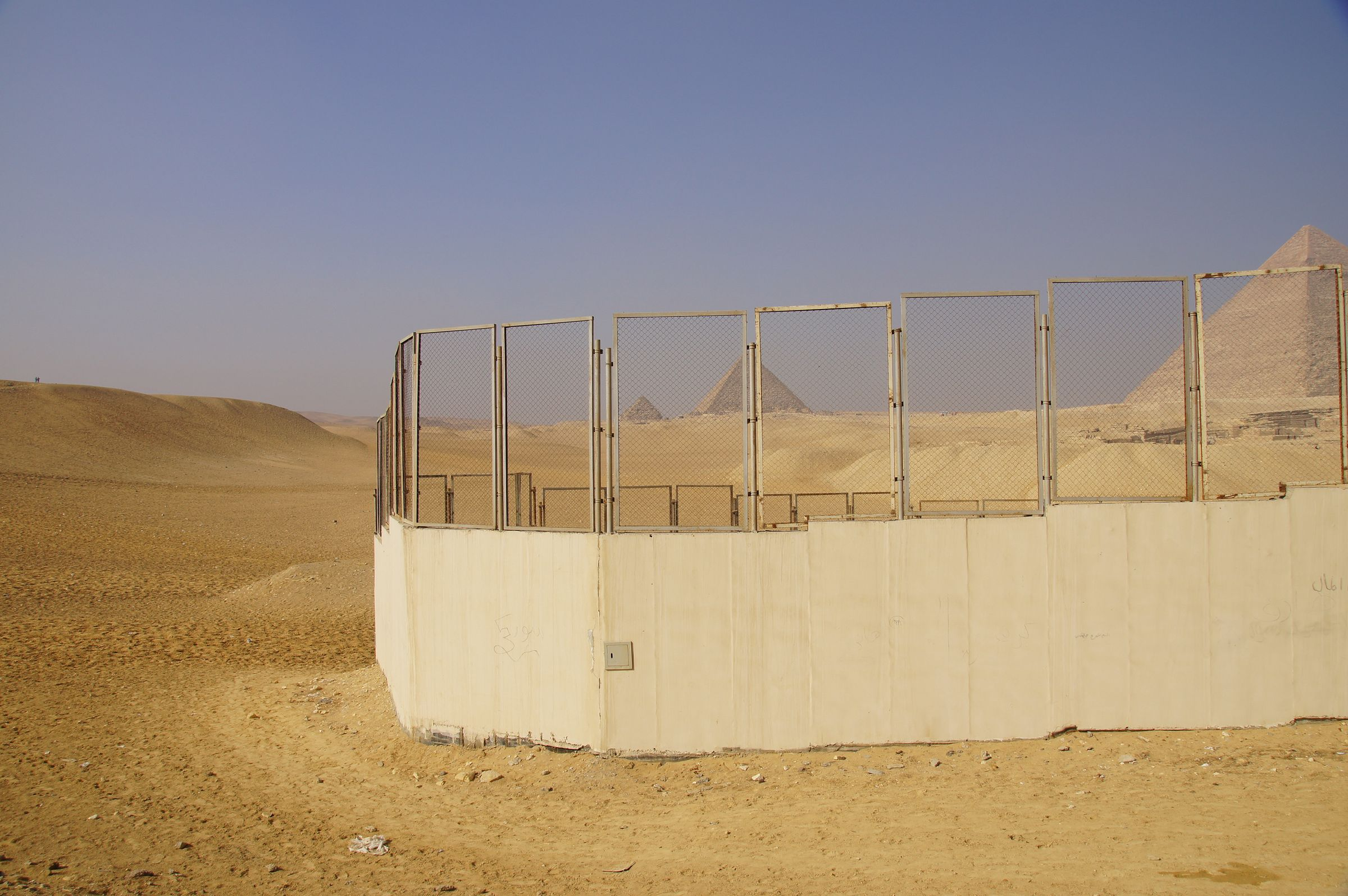 General View: Site: Giza; View: Menkaure Pyramid, Khafre Pyramid, Khufu Pyramid, Muslim Cemetery
