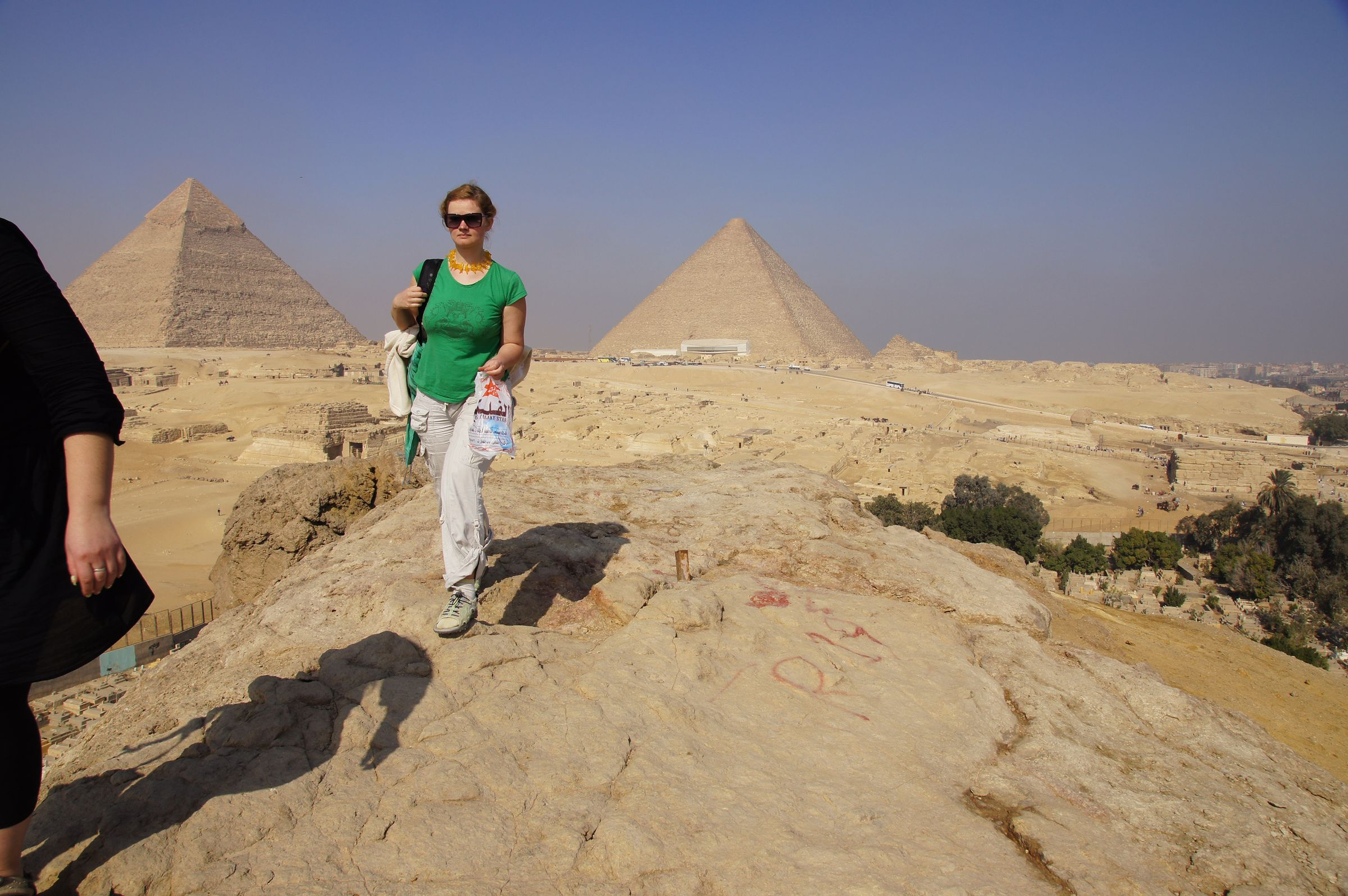 General View: Site: Giza; View: Southern Mount, Khafre Pyramid, Central Field, Khufu Pyramid, Muslim Cemetery, Eastern Cemetery