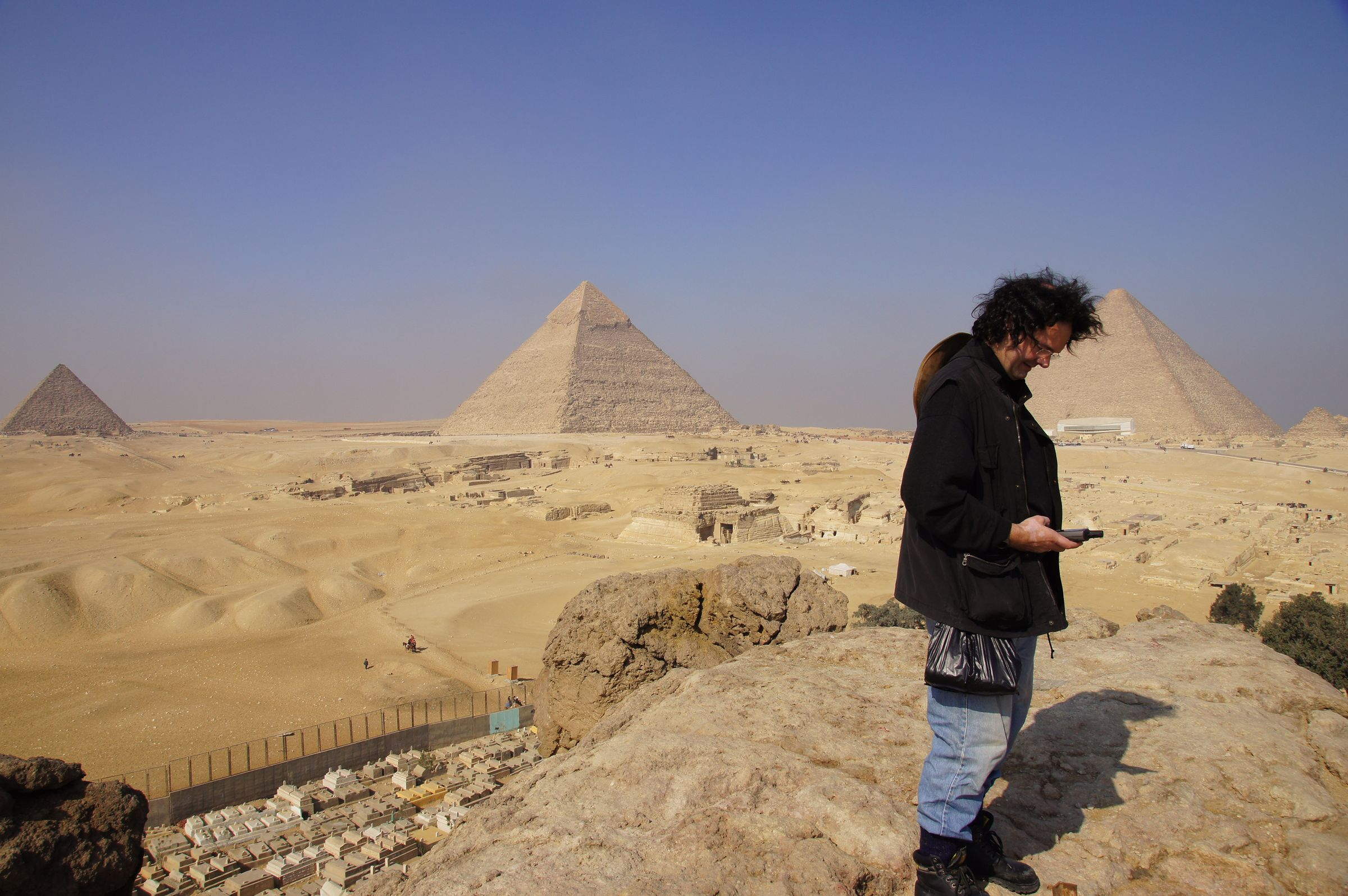 General View: Site: Giza; View: Southern Mount, Menkaure Pyramid, Khafre Pyramid, Khufu Pyramid, G 8400, Central Field, Muslim Cemetery