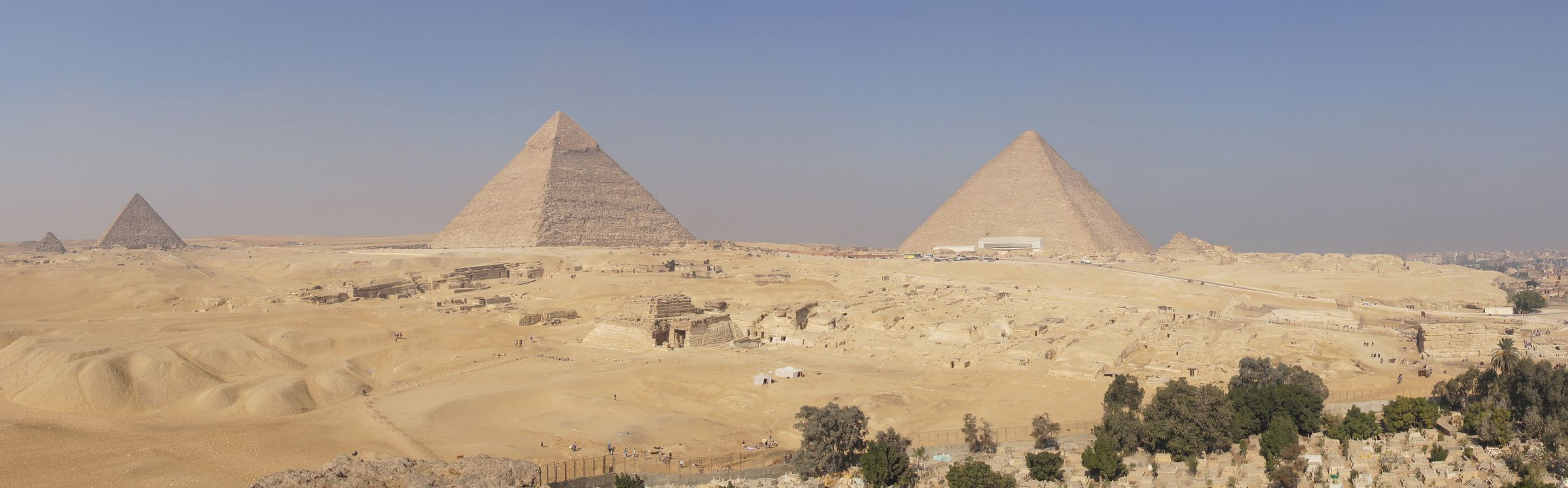 General View: Site: Giza; View: Southern Mount, Menkaure Pyramid, Khafre Pyramid, Khufu Pyramid, G 8400, Central Field