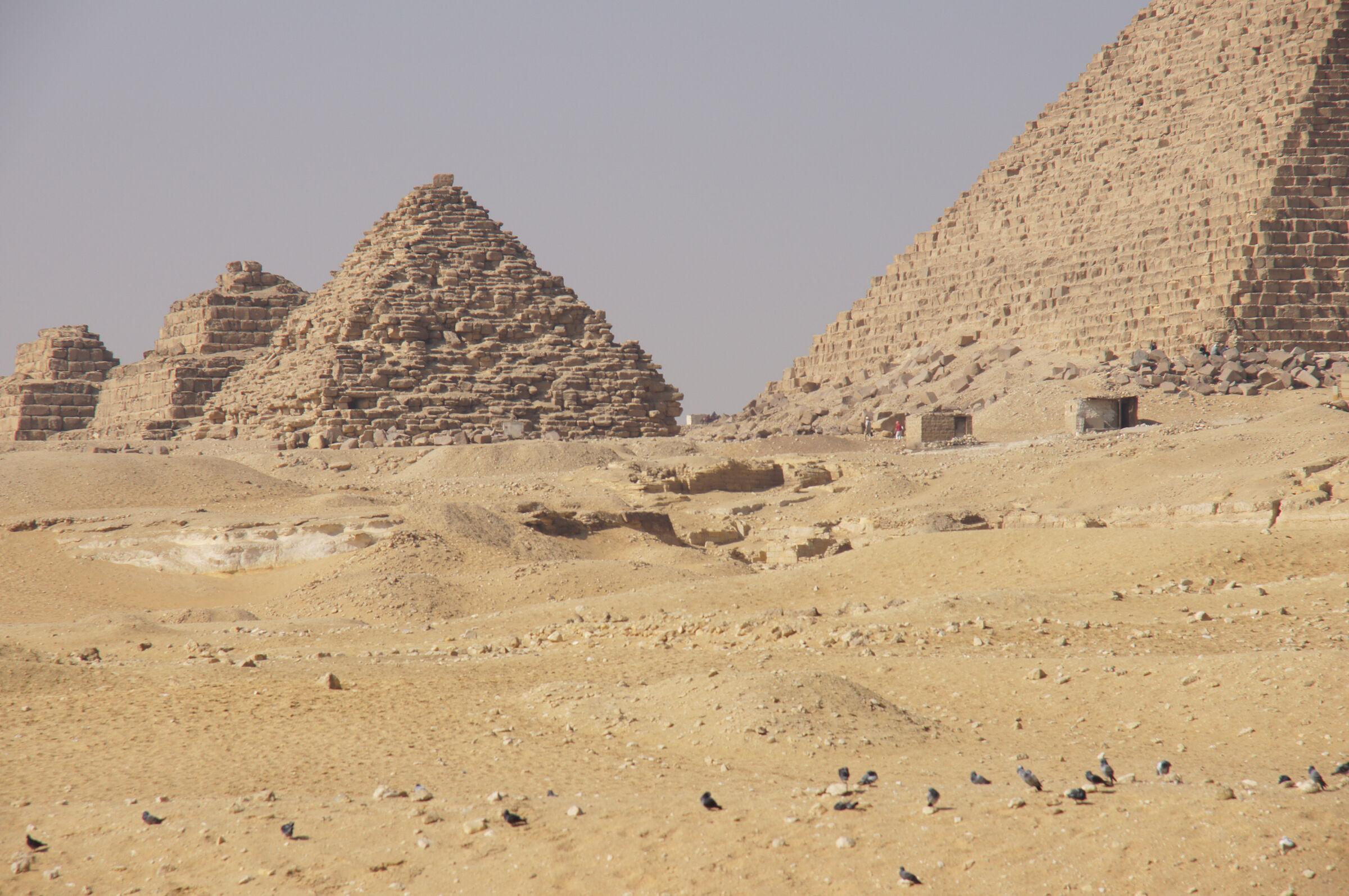 Menkaure Pyramid Complex: Site: Giza; View: Menkaure Pyramid, G III-a, G III-b, G III-c