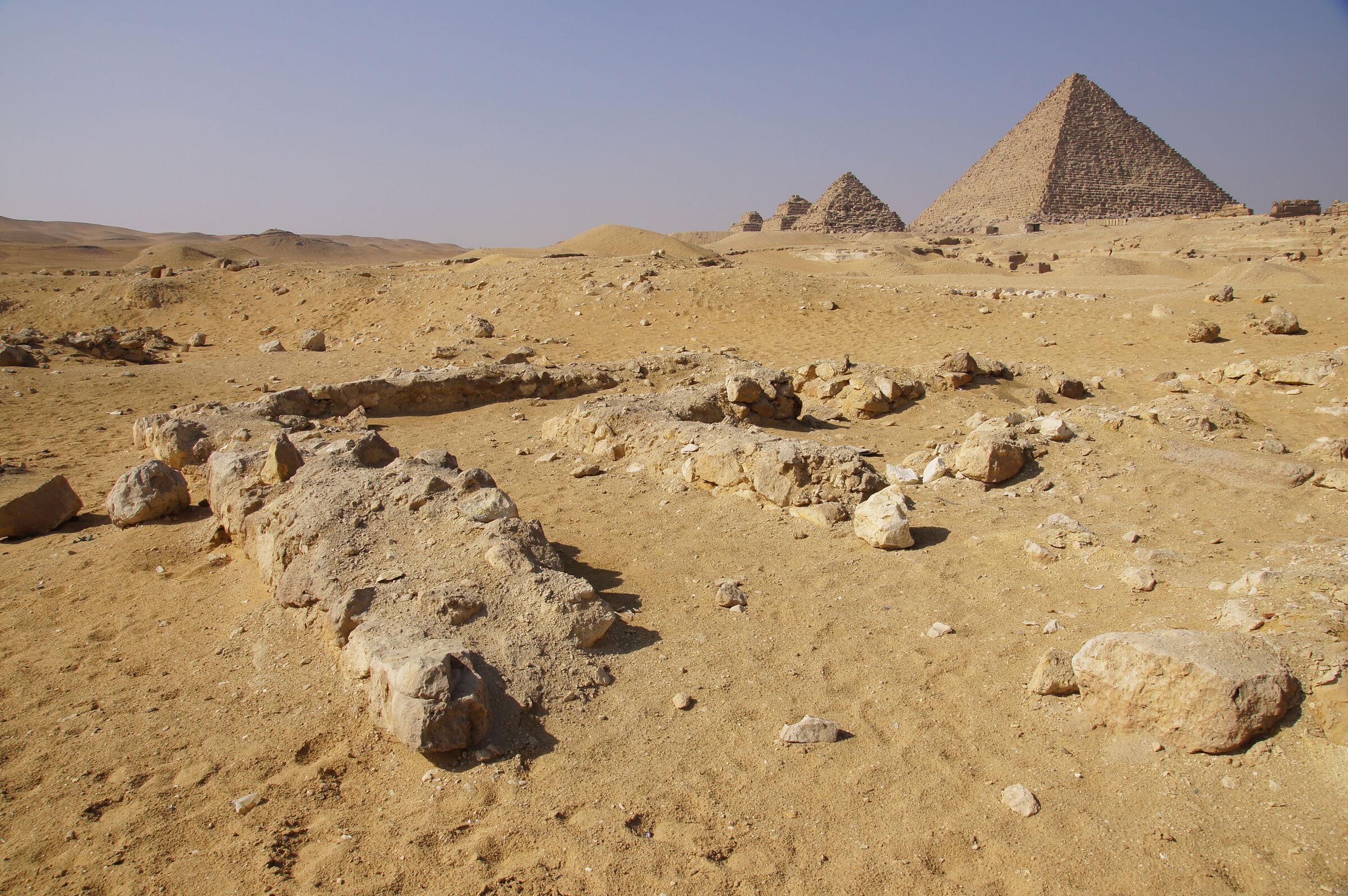 Saleh Settlement: Site: Giza; View: Saleh Settlement, Menkaure Pyramid, G III-a, G III-b, G III-c