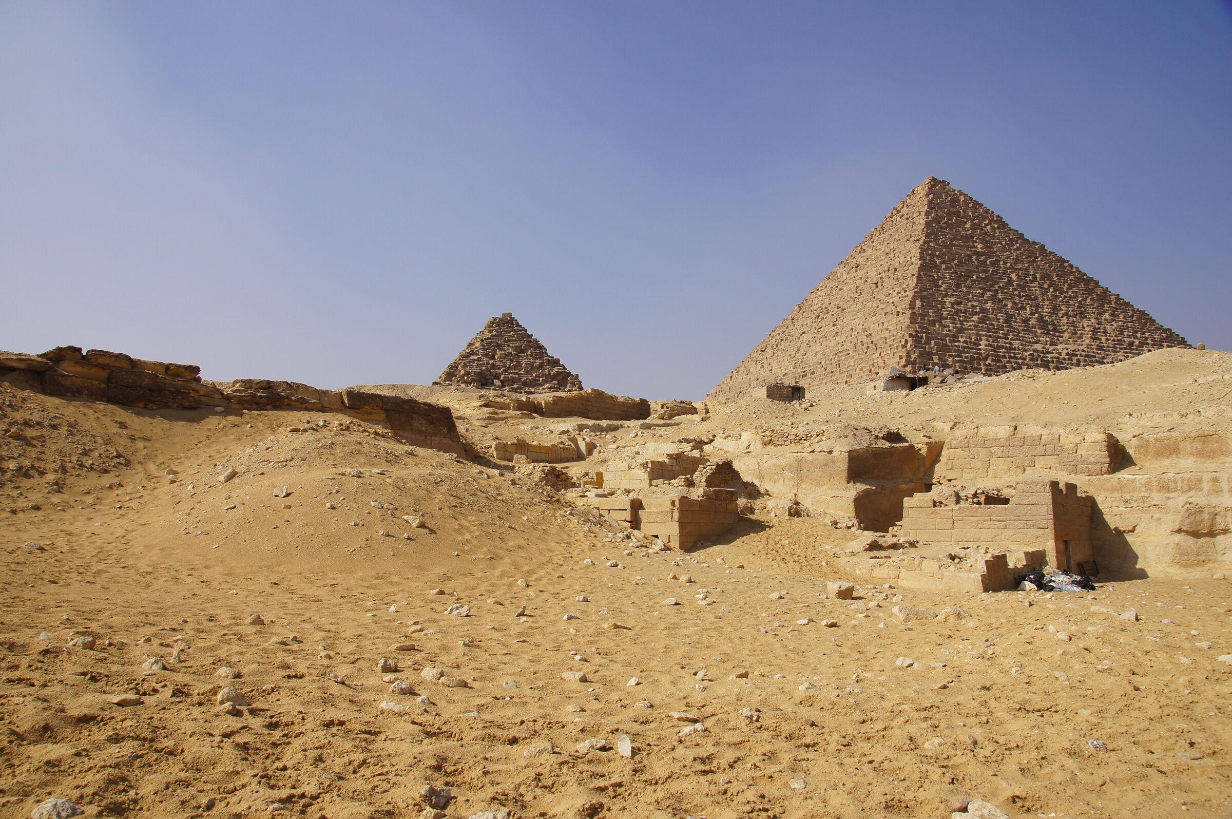 Menkaure Quarry Cemetery: Site: Giza; View: MQ 1, MQ 136, MQ 106, MQ 123, MQ 105, MQ 120, MQ 134, G III-a, Menkaure Pyramid