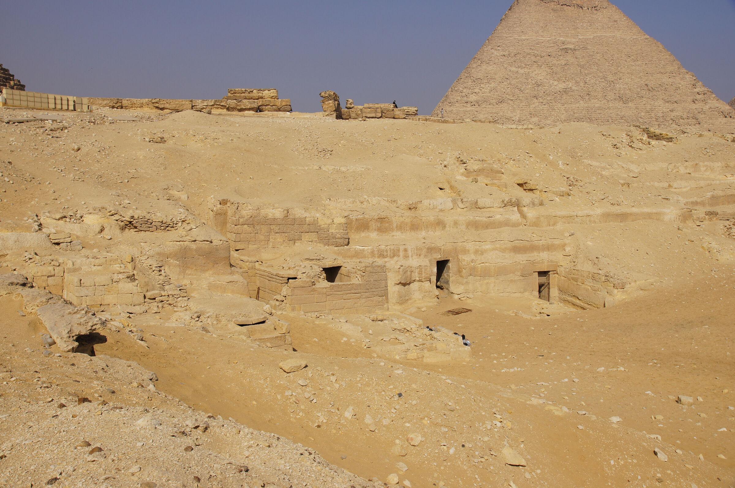 Menkaure Quarry Cemetery: Site: Giza; View: MQ 106, MQ 123, MQ 105, MQ 120, MQ 134, MQ 121, MQ 130, MQ 132, MQ 133, Khafre Pyramid