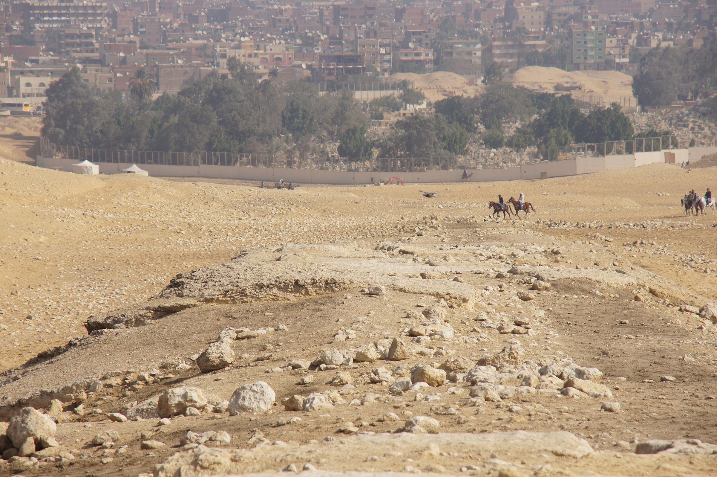Menkaure Pyramid Complex: Site: Giza; View: Menkaure Causeway, Muslim Cemetery