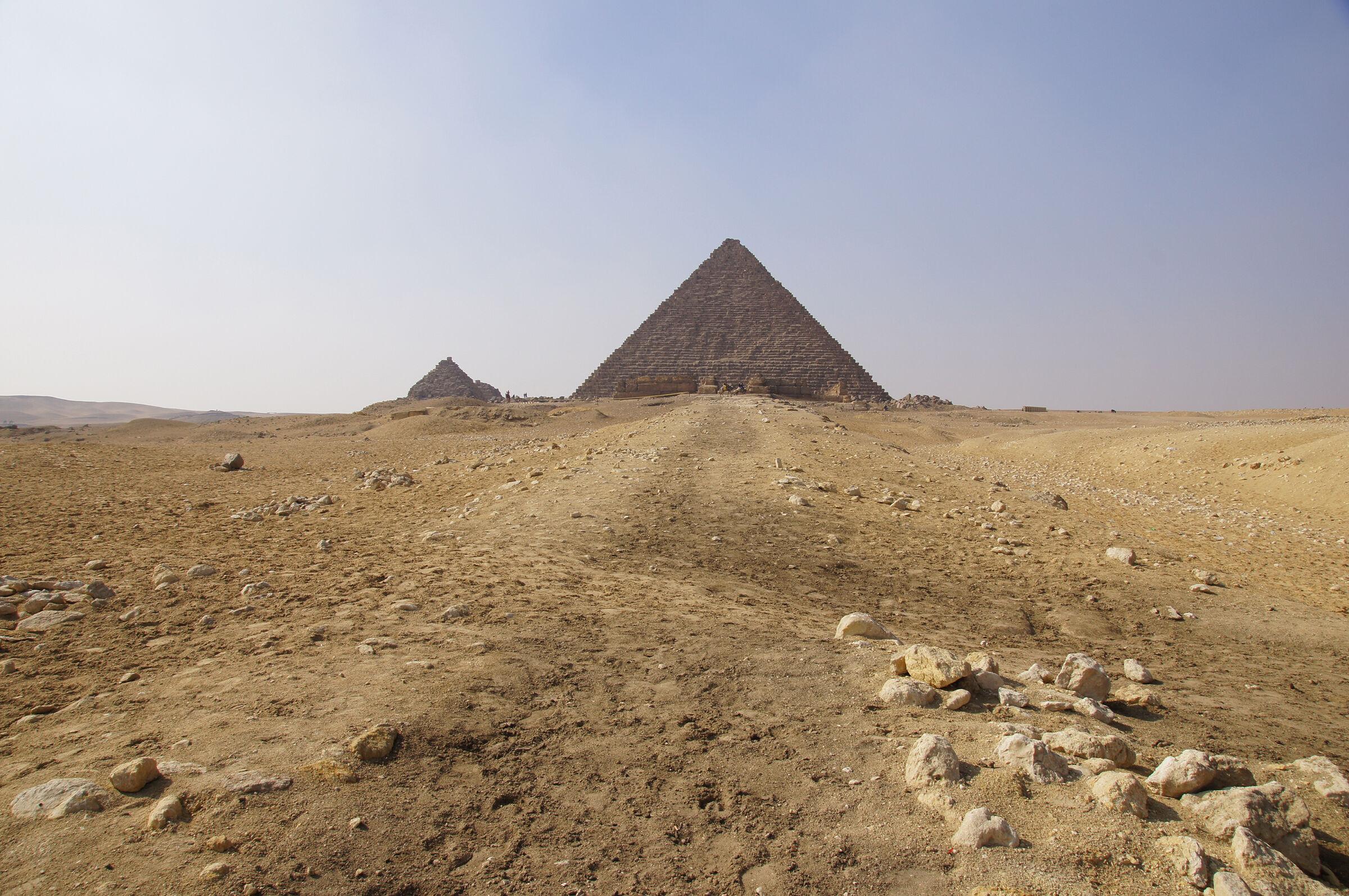 Menkaure Pyramid Complex: Site: Giza; View: Menkaure Causeway, Menkaure Pyramid Temple, Menkaure Pyramid