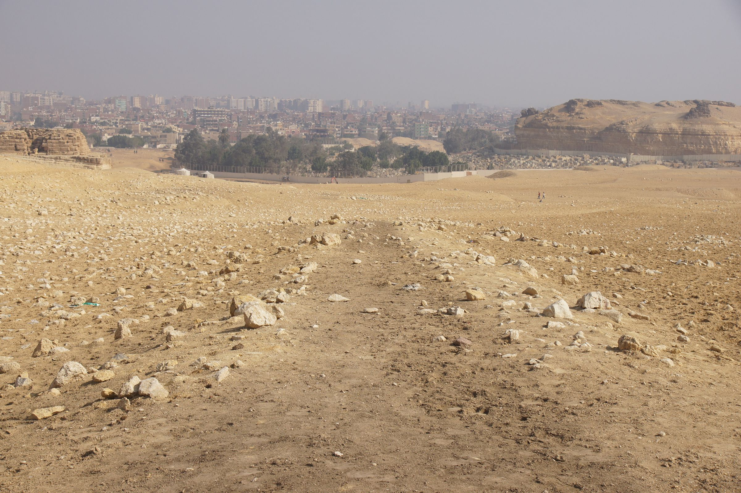Menkaure Pyramid Complex: Site: Giza; View: Menkaure Causeway, Muslim Cemetery, Southern Mount