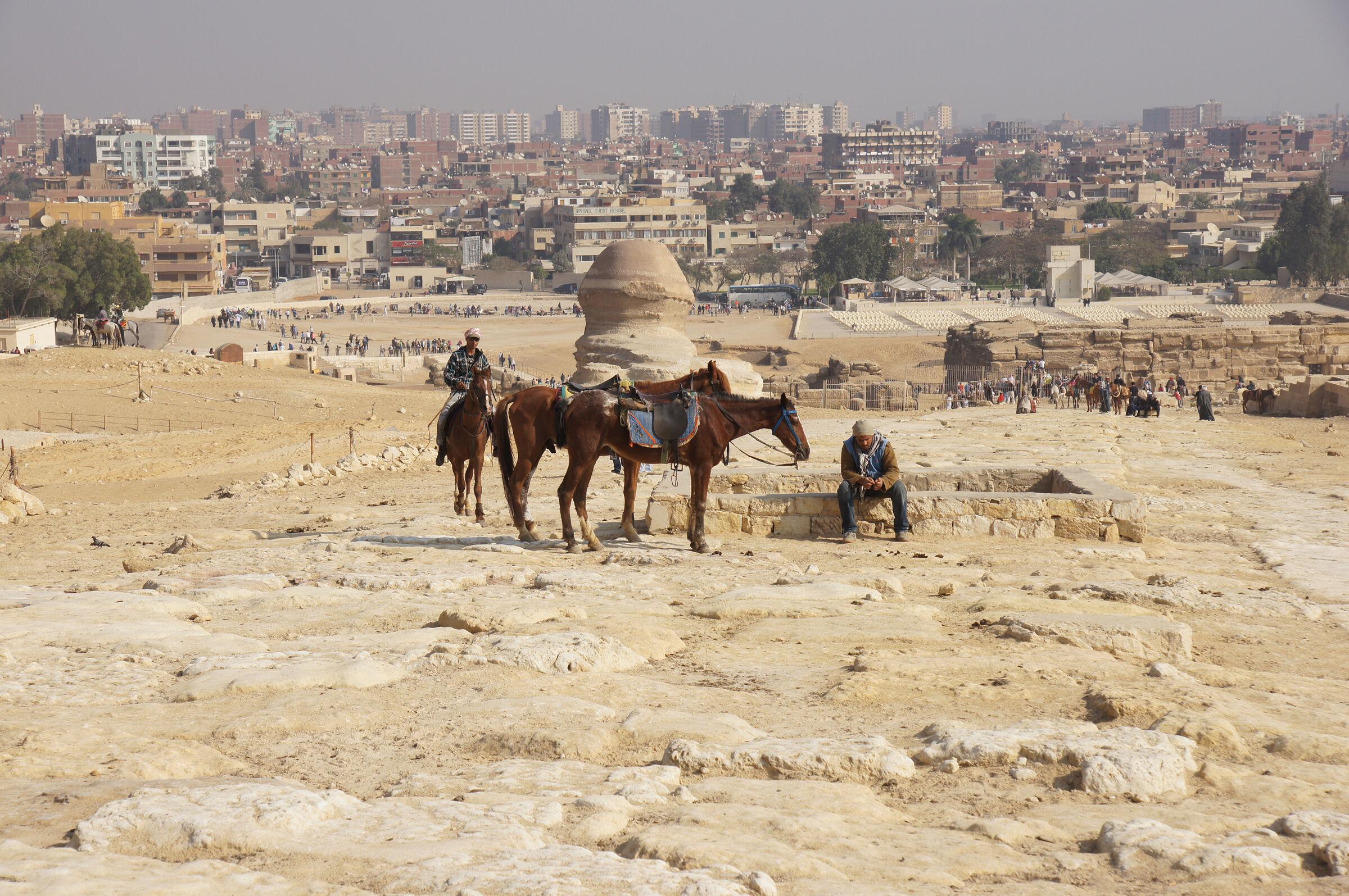 Khafre Pyramid Complex: Site: Giza; View: Khafre Causeway, Sphinx, Sphinx Temple, Khafre Valley Temple