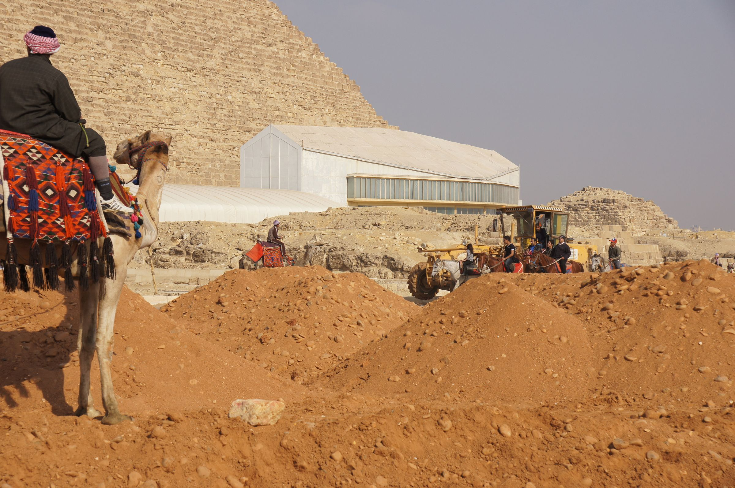 Khufu Pyramid Complex: Site: Giza; View: Khufu Pyramid, Khufu Boat Museum, G I-South Cemetery