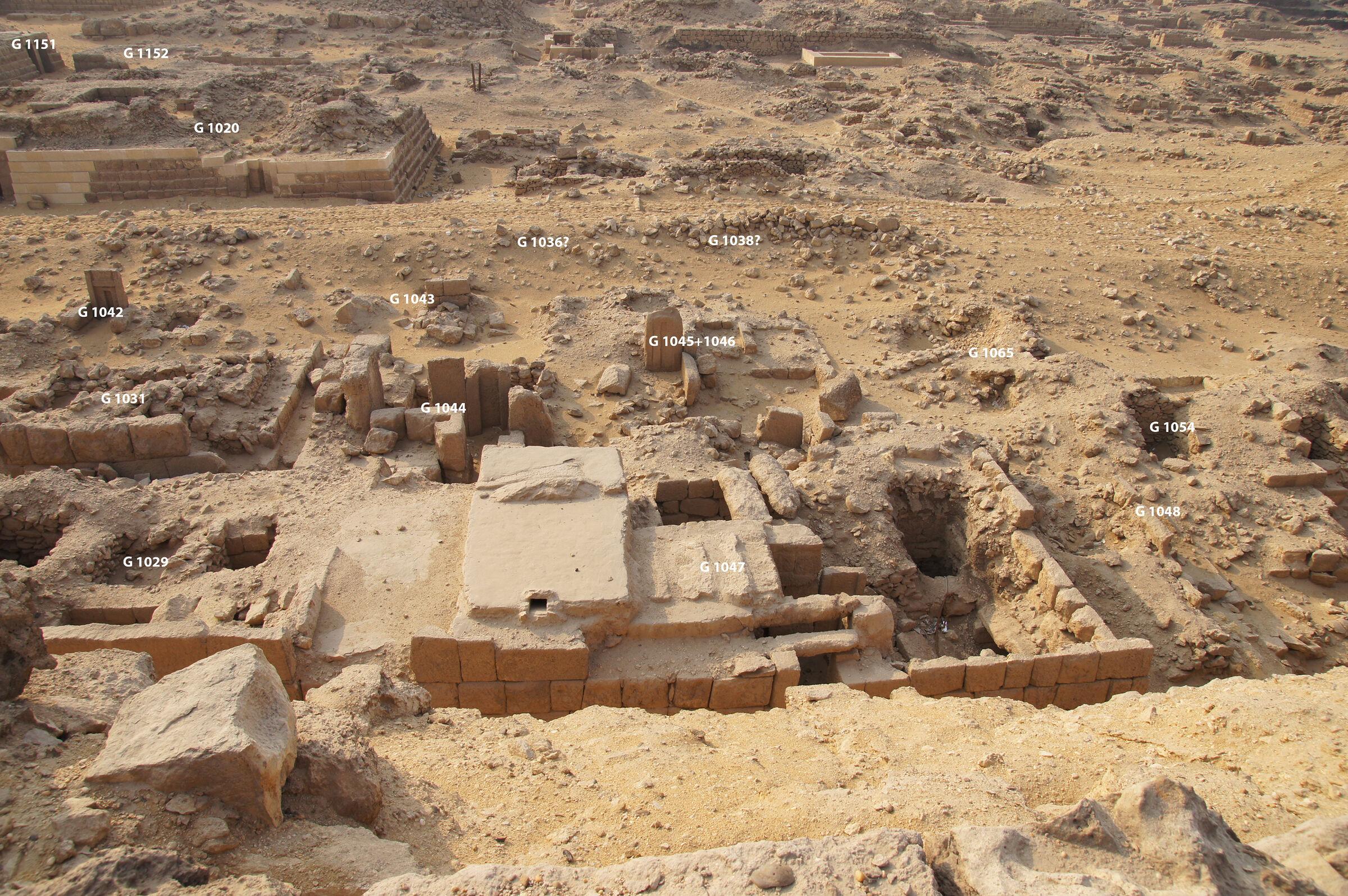 Western Cemetery: Site: Giza; View: G 1029, G 1047, G 1048, G 1031, G 1044, G 1045+1046, G 1065, G 1054, G 1042, G 1043, G 1036, G 1038, G 1020, G 1151, G 1152