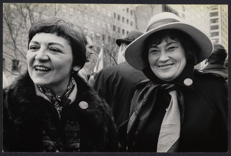 Congresswoman Bella Abzug and Lt. Governor of NY Mary Anne Krupsak attend Jewish Rally