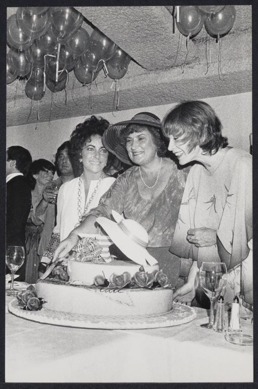Bella Abzug with Elizabeth Taylor and Shirley McLaine celebrating Bella's birthday