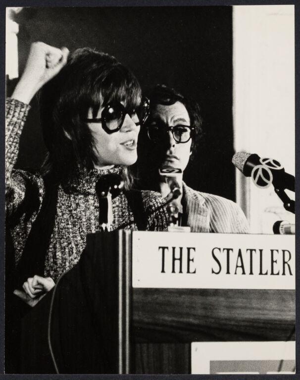 Jane Fonda at press conference about involvement with Vietnam (Anti-Vietnam press conference)