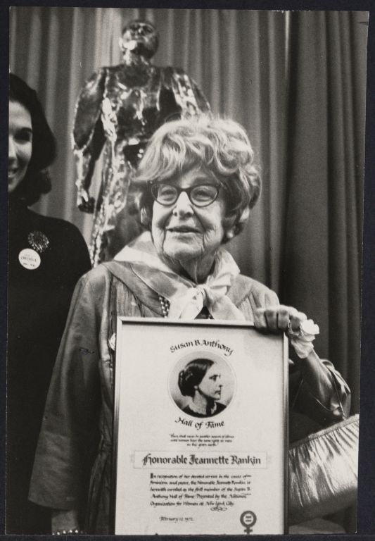 The late suffragist Jeannette Rankin at NOW conference