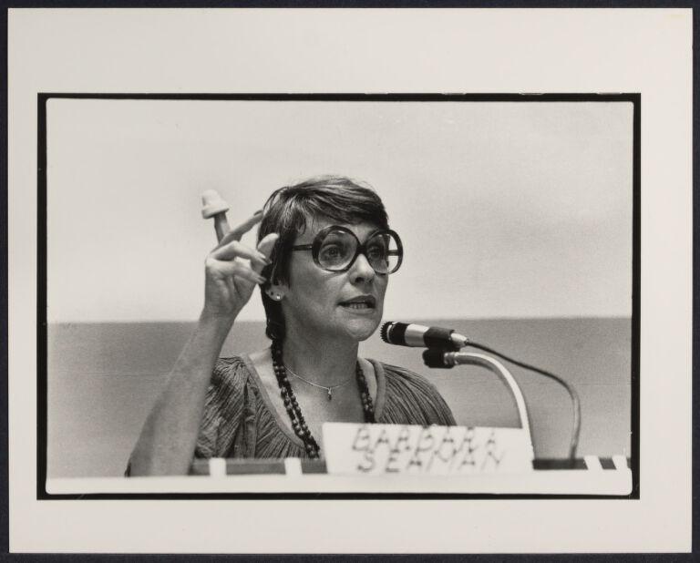 Barbara Seaman holding vaginal cap at Pre-1980 Women's March press conference