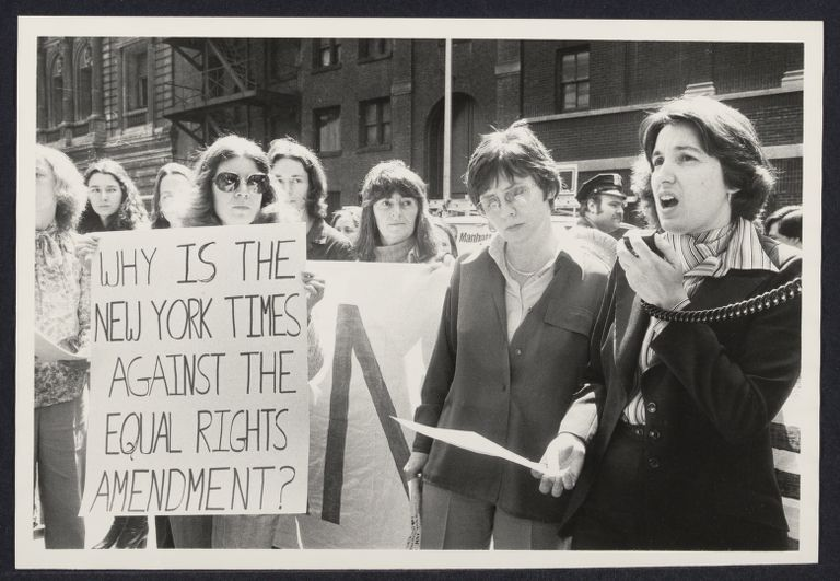 Ellie Smeal speaks in front of the NY Times because they do not support the Equal Rights Amendment