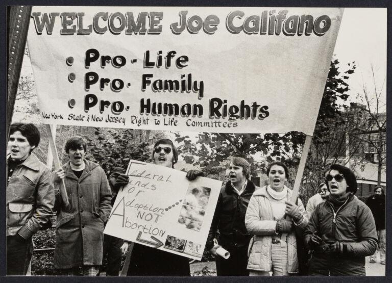 Demonstration for Joseph A  Califano at NYU Law School