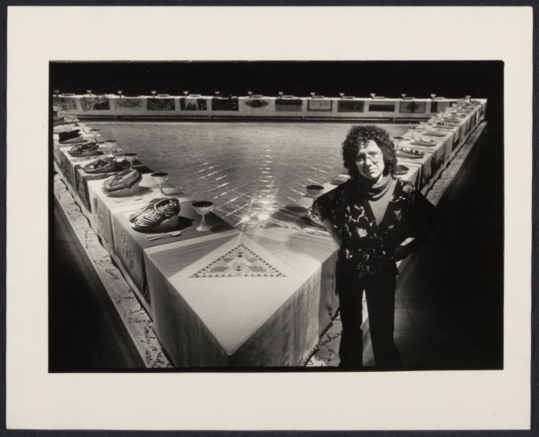 "Artist Judy Chicago with ""The Dinner Party"". Bettye Lane photographer 1980"