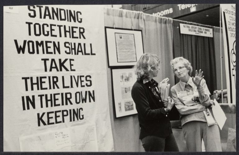 Exhibition hall at International Women's Year conference in Houston