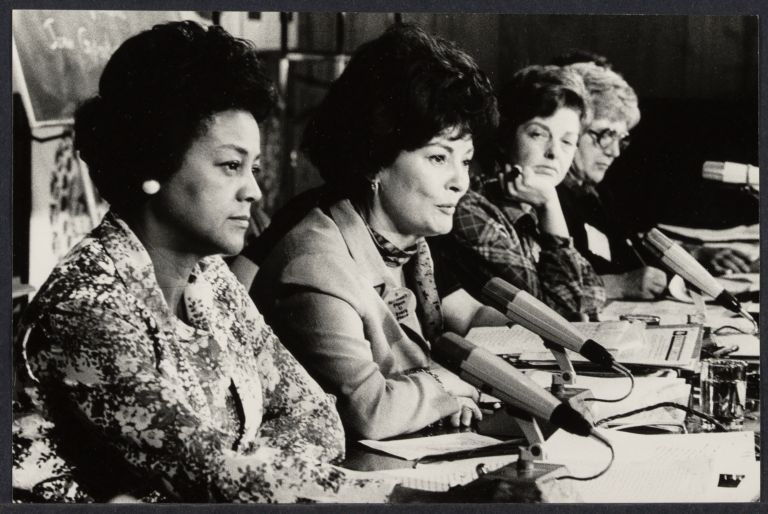 U.S. Representatives to the NGO conference: Jewel Lafontant, Patricia Hutar, Joan Goodin, and Arvonne Fraser