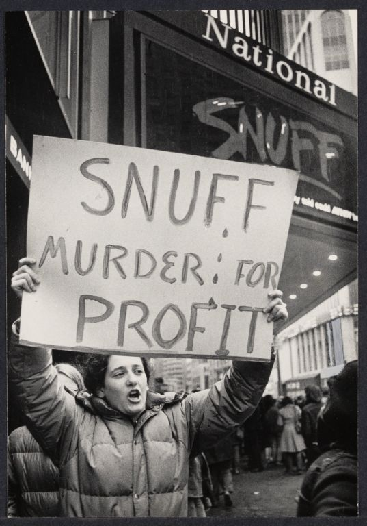 """Women against Pornography demonstration at the theater showing the anti-women film called """"Snuff"""""""