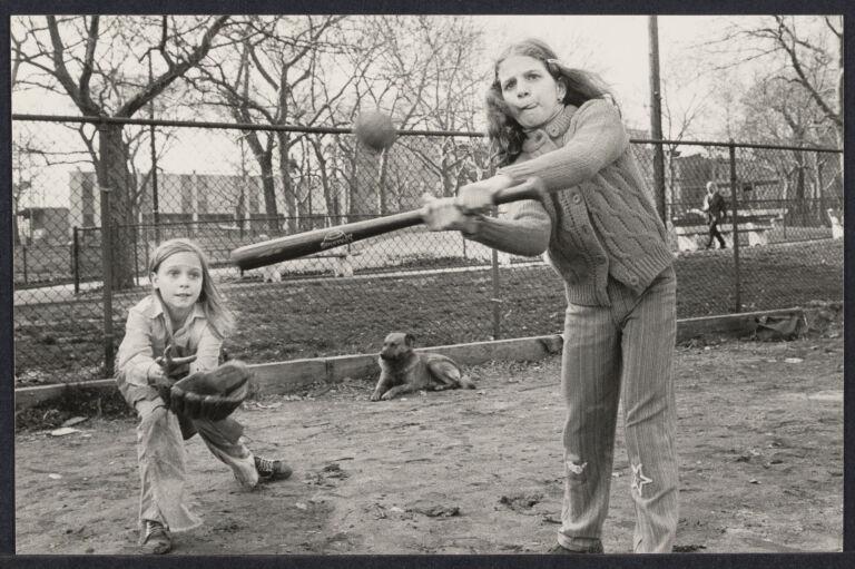 Little league baseball tryouts (Kim Minicica, hitting with Naomi Johnson catching)