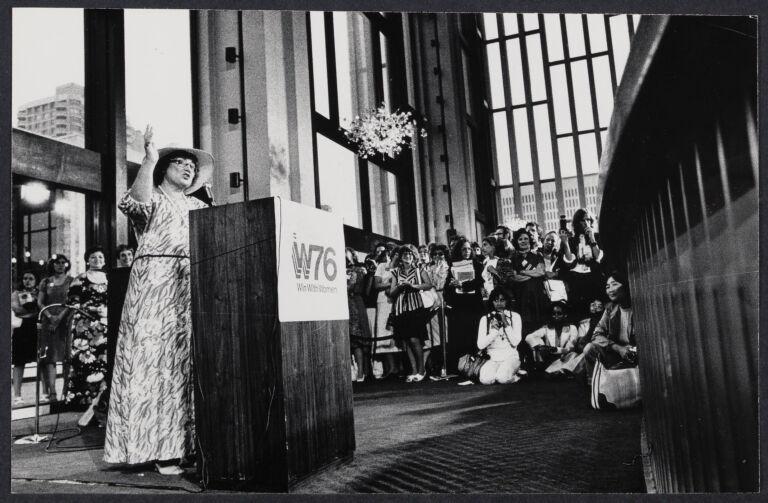 Bella Abzug speaking at Women's Caucus