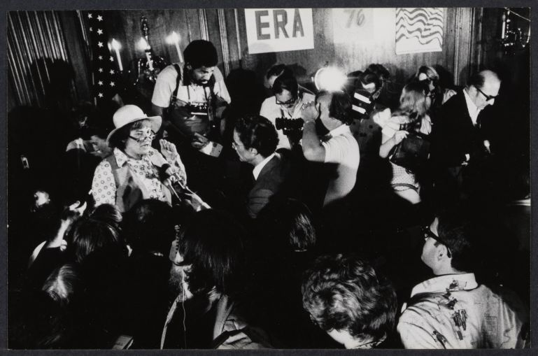 Bella Abzug at Women's Caucus Press Conference explaining compromise with Carter's people