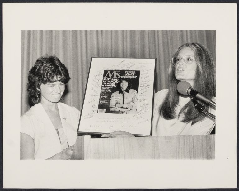 Astronaut Sally Ride received autographed Ms. Magazine cover from editor Gloria Steinem and magazine employees
