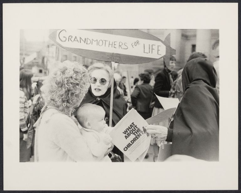"""Grandmothers for Life"" a group from the Peace and Freedom contingent demonstrate against nuclear arms in the USA and USSR at the Federal Court House"