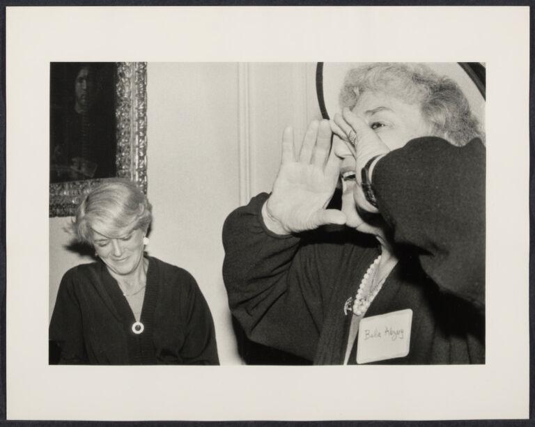 Bella Abzug introduces guest Geraldine Ferraro at Eleanor Roosevelt House