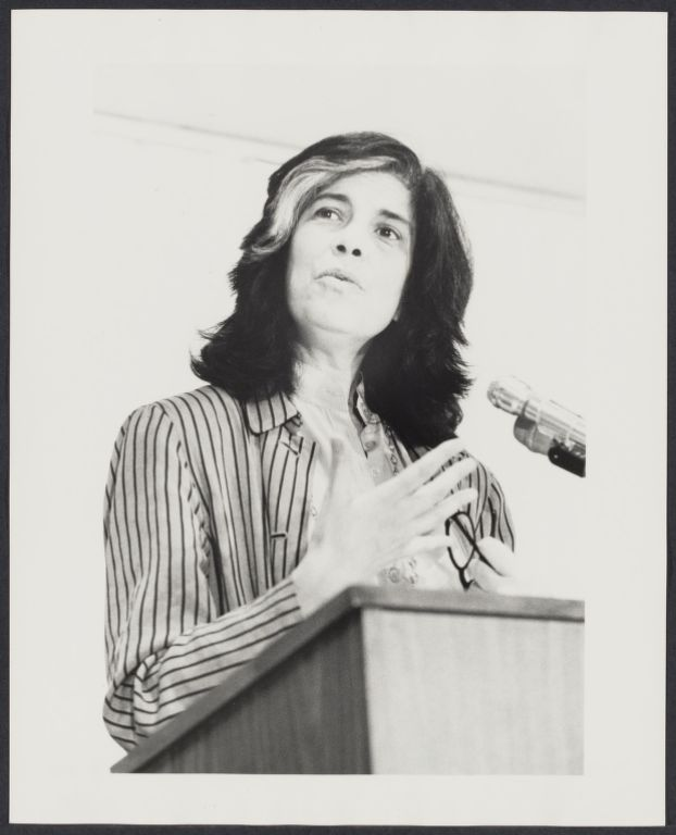 Writer Susan Sontag speaks at conference on older women in NYC