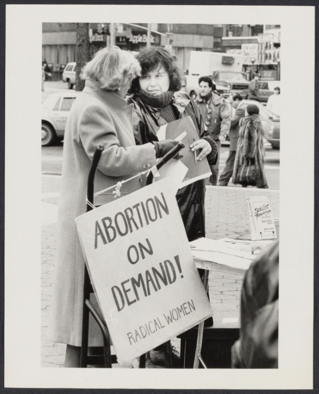 Women attend 15th anniversary of legalized abortion rally held in Union Square, NY