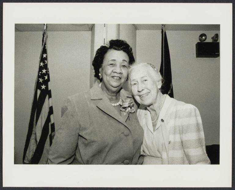 U.S. Department of Labor conference in NYC. Dorothy Height (left), original member of Women's bureau in Washington, D.C. and Esther Peterson, Executive Vice Chair of Women's Bureau since 1920