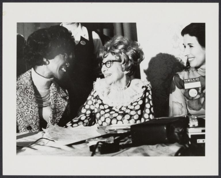 Congresswoman Shirley Chisholm, Jeannette Rankin, and Muriel Fox at the NOW regional conference