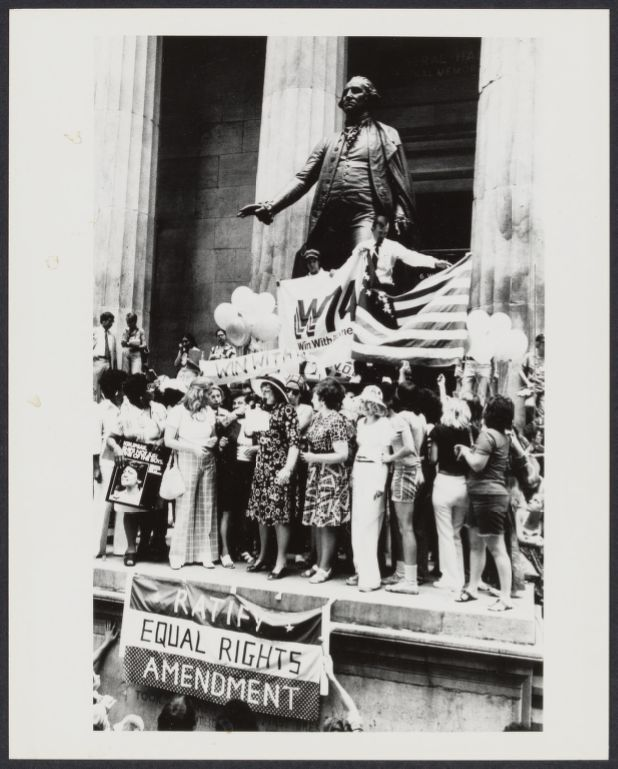 Bella Abzug speaks at Women's Equality Day rally