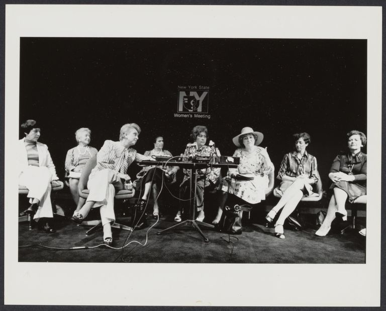 International Women's Year conference. From left to right: Midge Costanza, Helen Haes, Celeste Holmes, unidentified, Mary Burke Nichols, Bella Abzug, unidentified, Lt. Governor Mary Anne Krupsak