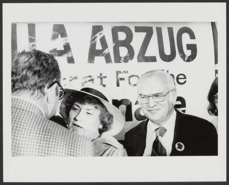 Bella Abzug with husband Martin at her press conference announcing her run for NY senate