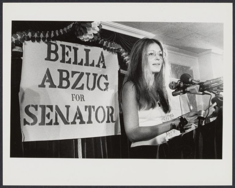 Gloria Steinem speaks at press conference announcing Bella Abzug's run for NY Senate