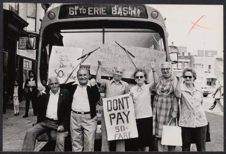 Gray Panthers demonstration, the aged demonstrate against subway and bus increases