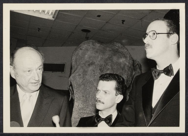 AIDS benefit at Madison Square Garden press conference with Mayor Ed Koch (left), David Diaz, and Mel Rosen