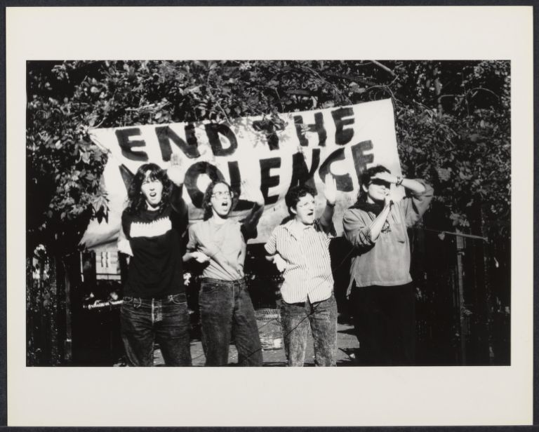 The modern women's movement began to draw attention to violenece against. These images depict protest marches, vigils and victims of domestic violence and sexual assault. The events they document and the photographs themselves brought great awareness to the issues. Behind the scenes, grassroots organizations began providing services in the form of temporary shelters, hotline support, counseling, education and legal representation.