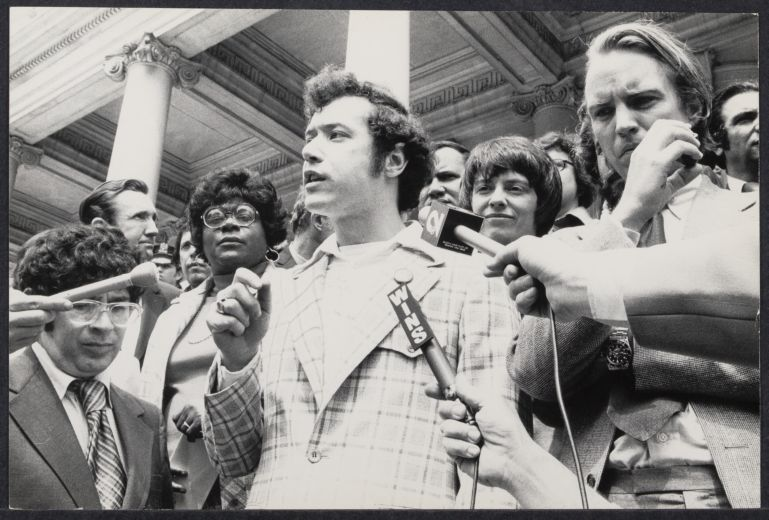 Gay spokesperson Morty Manford at NYC City Hall with Carter Burden