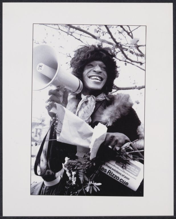 Marsha Johnson speaks at Intro 384 gay and lesbian civil rights event in Sheridan Square