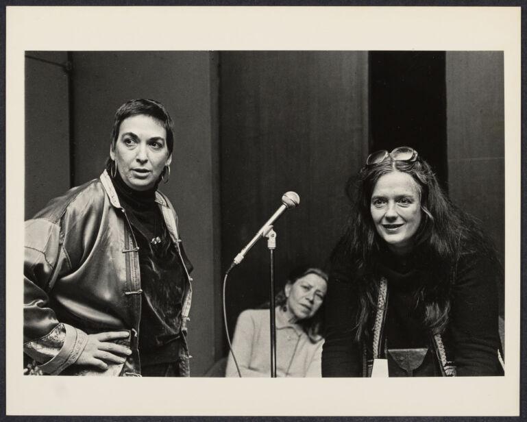 Susan Kleckner (left), filmmaker with multi-media artist Alida Walsh (right) at Cerridwen Salon in New York