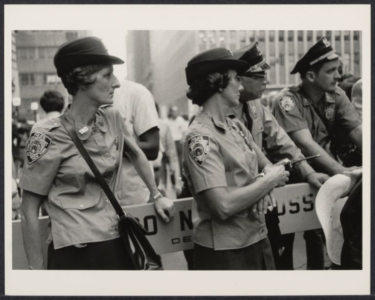 Policewomen on duty at Women's Liberation rally