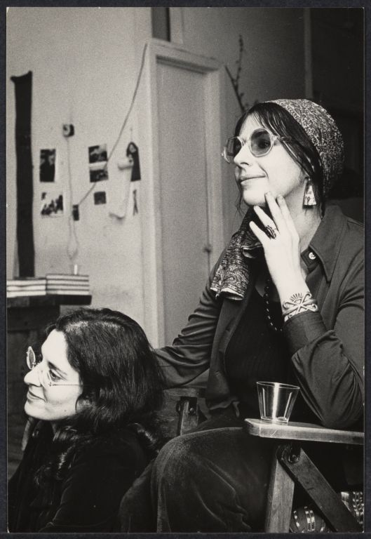Writers Karen Malpede (left) and Carole Rosental (right) at the Woman's Salon