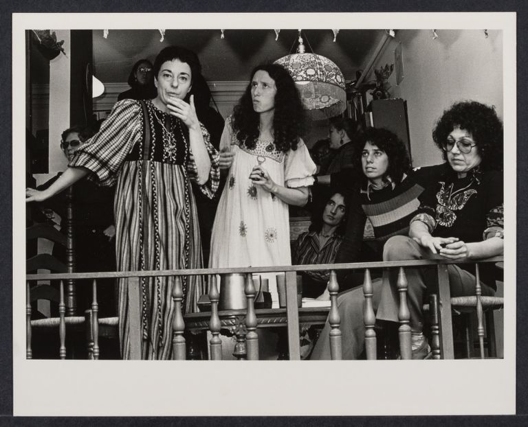 Gloria Orenstein (left), Erika Duncan, and Judy Chicago (right) at the Woman's Salon